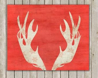 8x10 Moose Antler, Moose Head Antlers, Red Deer Art, Snowflake Antler, Christmas Decor, Holiday Art, Antler Wall Print, Instant Download