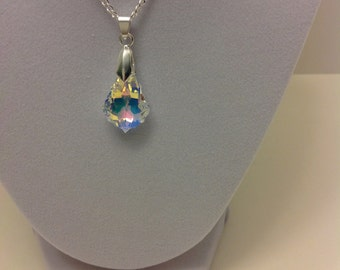 Swarovski briolette pendant , crystal necklace , briollete necklace ,  silver plated , lobster claw clasp , handmade