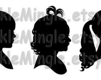 Custom Silhouette Portrait- Digital Files Only, Child Portrait, Kids Silhouette, Unique Gift, Printable Image File