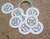 1 inch Mini Round Tags, Handmade Tags, Made with Love Tags, Gift Bag Tags, Product Tags, Made By Tags, Mini Paper Tags, 30 pcs