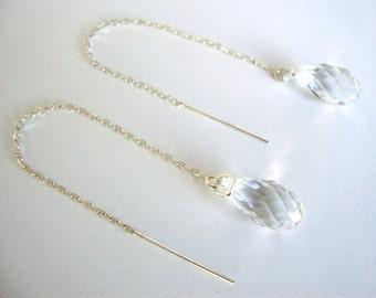 Clear Swarovski Crystal 3 Inch Sterling Silver Threader Earrings - Handmade Minimalist Jewelry - Bridesmaid Earrings - Bridal Earrings