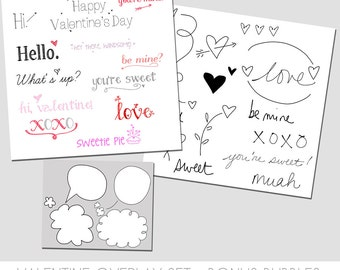 Valentine's Day Words & Designs Photography Overlay - Bonus Thought Bubbles Included - Use for Marketing Template - Cards - Hearts