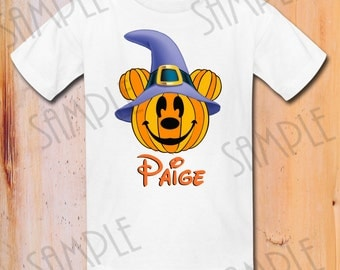 Disney Mickey Mouse Halloween Pumpkin Printable, DIY Mickey Mouse Disney Halloween Shirt Printable Personalized, Matching Family Shirts