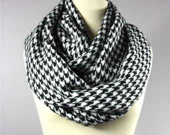 Houndstooth scarf, WIDE,  black and white scarf, infinity houndstooth scarf, black and white houndstooth scarf