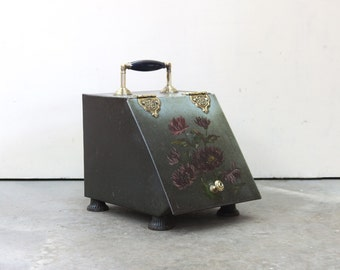 English Hand Painted Floral Coal Scuttle