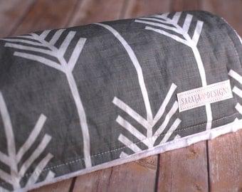 Baby Blanket - Organic Knit - Grey Arrows - Spoonflower Designer Fabric