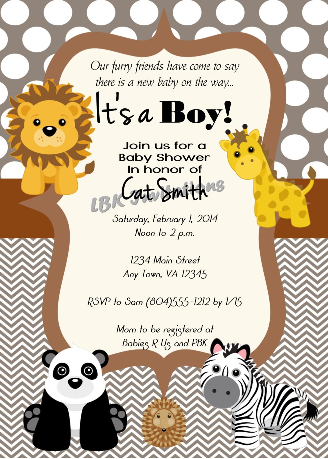 zoo themed baby shower invitation girl or boy