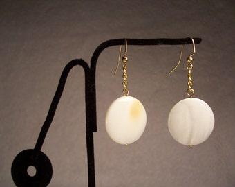 Shell Earrings, Long Earrings, Round earrings, Flat Earrings, White Earrings, Gold earrings
