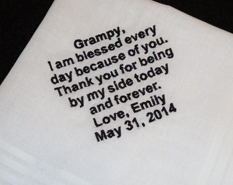 Personalized Grandfather of the Bride Handkerchief Wedding Day Keepsake - Thread Born Memories