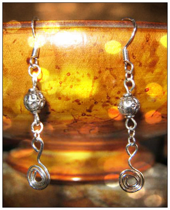 Handmade Silver Hook Earrings with Dangle by IreneDesign2011