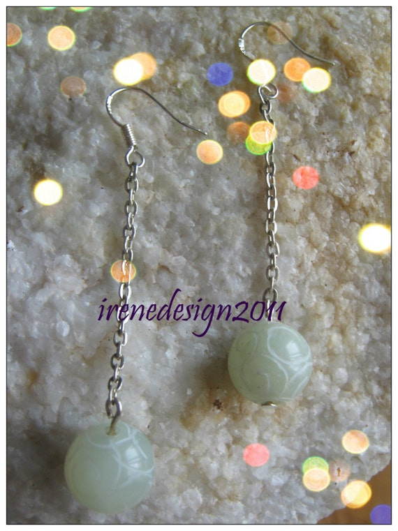 Handmade Silver Hook Earrings with Carved Old Jade & Chain by IreneDesign2011