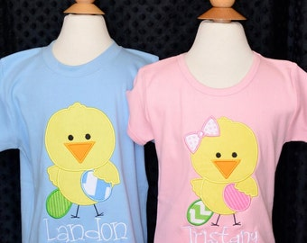 Personalized Easter Chick Eggs Applique Shirt or Onesie Girl or Boy