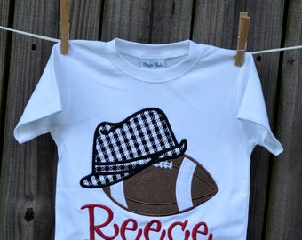 Personalized Houndstooth Fedora with Football Applique Shirt or Onesie
