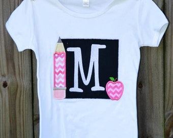 Personalized Chalkboard with Apple & Pencil Applique Shirt or Onesie Girl or Boy