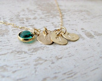 14k Gold Filled Heart Necklace heart Jewelry Personalized birthstone necklace Emerald Birthstone 3 monogram hearts monogram initials hearts