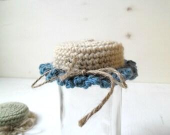 Jar lid covers, crochet jar cozy, rustic kitchen decor, kitchen jar cozy, crochet home decor, new home gift