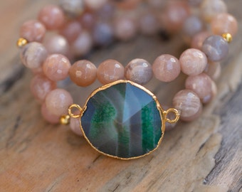 Green Agate Geode stretch bracelet set