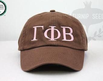Gamma Phi Beta Greek Only Sorority Baseball Cap - Custom Color Hat and Embroidery.