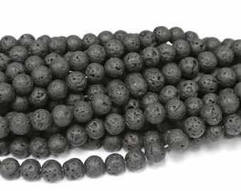 "6mm Round Lava Beads, Volcanic Lava Beads, 1 Strand (16""), Round Black Beads, Mala Beads, 6mm round lava beads, lava beads, volcanic beads"