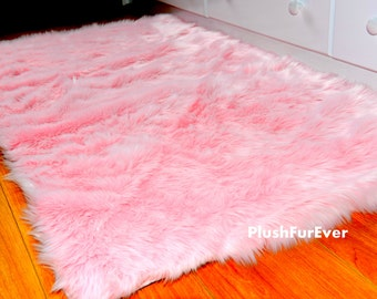 Pink Fluffy Rug Home Decor