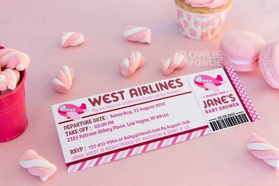 Pink airplane baby shower printable 25 x 7 inch boarding pass il570xn filmwisefo