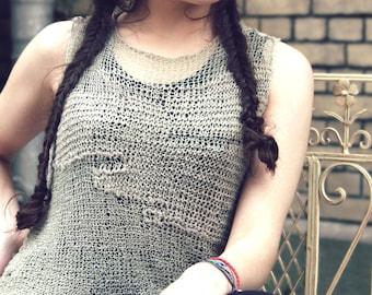 womens tank top - gypsy clothing- knit top - bohemian - linen top - loose knit - crochet for sale - sale