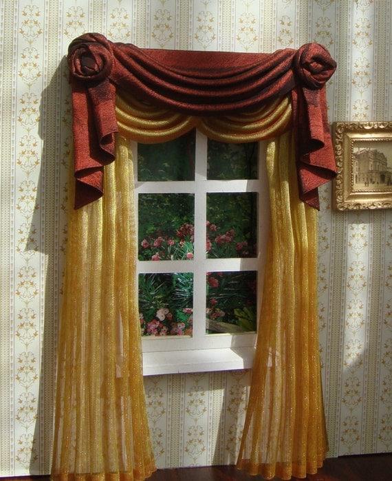 Items Similar To Miniature 1:12 Dollhouse Curtains (on