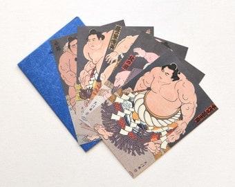 Vintage Japanese Sumo Wrestler Set of 5 Postcard // Vintage Hipster Blank Postcard Lot Japanese Decor