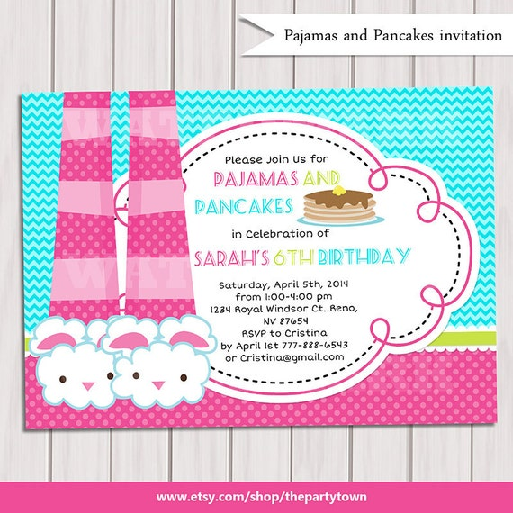 Bien connu CRÊPES et Invitation pyjama PARTY parti pyjama invitation FG65