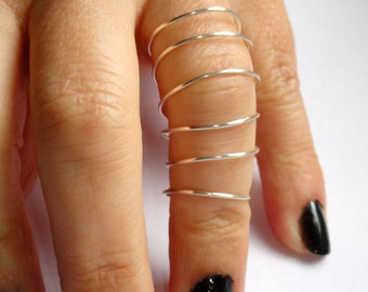 Silver wire full finger ring, Long silver spiral wire ring, Adjustable silver wire ring