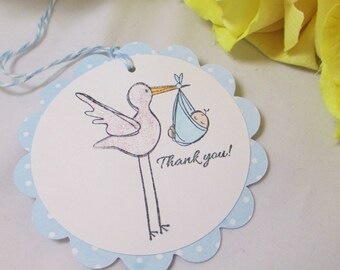 10 Stork Baby Tags,  Gift Tags, Boy Baby Shower Favor Tags, Thank You Tags, It's a Boy Bag Tag, Blue Baby Boy Shower Gift Tags, Boy Baby Tag