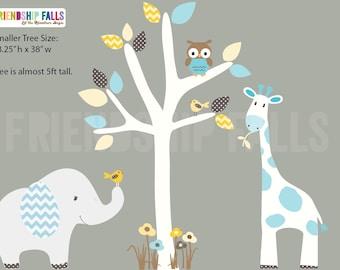 nursery Jungle Decal, elephant Wall Decal, giraffe decal, Nursery Wall Decal, Friendship Falls XXL Branch Tree Set - Retro Chevron Scene