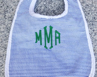 Baby Bib with Monogram in Blue Seersucker / Monogram Baby Gift / Baby Boy Gift