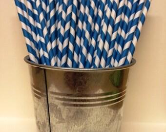 25 Dark Blue Striped Paper Straws for Parties, Gender Reveal, Wedding, Baby Showers, Birthdays, Bar Mitzvah, Bat Mitzvah, Ice Cream Social
