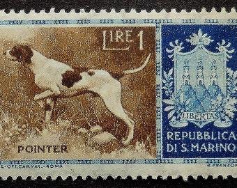 Pointer Dog San Marino -Handmade Framed Postage Stamp Art 16951AM