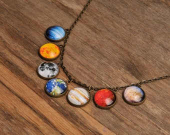 Solar system necklace, silver or brass necklace, planet necklace, universe necklace, galaxy necklace, glass necklace, glass dome necklace