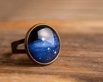 Milky way ring, adjustable ring, statement ring, antique brass ring, glass ring, antique bronze / silver plated ring base, galaxy ring