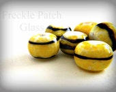 SALE price...was 17 dollars  Bumble Bead Set of 6, Lampwork Glass,  Yellow and Black
