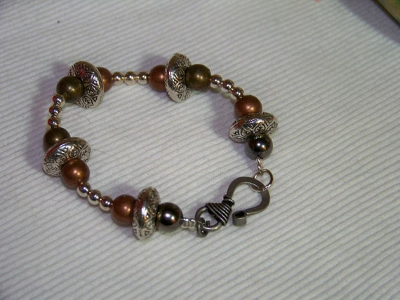 Bracelet - Steampunk Donuts & Rounds, Metal, Toggle, Silver
