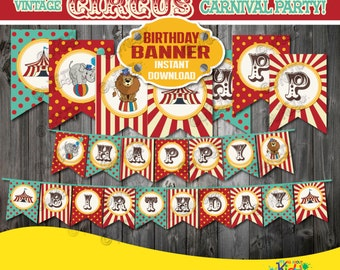 Instant Download!Circus Birthday Party Banner,Vintage Circus Party Banner,Carnival Birthday Party banner,Printable Carnival Party Decoration