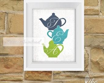 Printable Teapot Art / Tea / Teapot Silhouette / Navy, Teal and Green