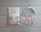 Personalized Baby Bib, and Burp Cloth Set, Create Your Own