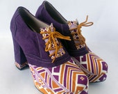 Colorful Purple Orange Ankle Boots with Soft Suede and Indonesian Ethnic Fabric