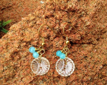 Antique Glass Button Earrings with Aqua Blue Beads