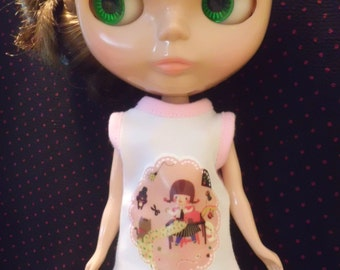 Blythe Doll Outfit Clothing Girl or Animal Print White Tee