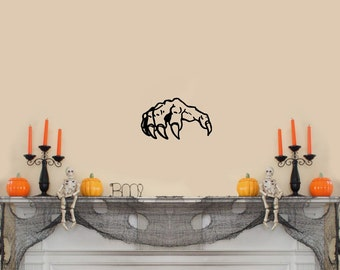 "Scary Hand Halloween Wall Decal Black 10""x 6"""
