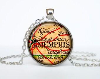 Memphis map pendant, Memphis map necklace, Memphis map jewelry, Memphis Tennessee