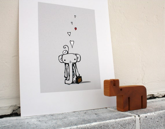 "off to work- darling elephant illustration- 8"" x 10"" print"