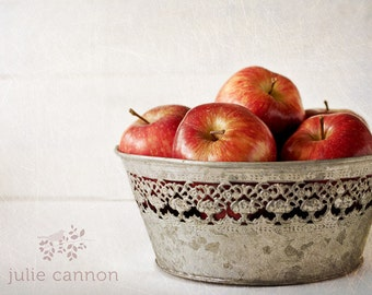 Red Apple Photography -  Apple Photography -  French Provincial -  Kitchen Art - Home Decor -  Rustic Home Decor  - Cafe Art - Food Art