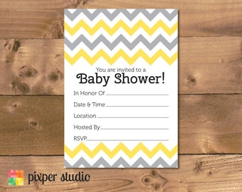INSTANT DOWNLOAD - Chevron Baby Shower Fill In Invitation - Yellow and Grey Fill-In Baby Shower Invitation